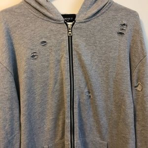 ⭐️2 for $20⭐️ EUC Forever 21 distressed zip up